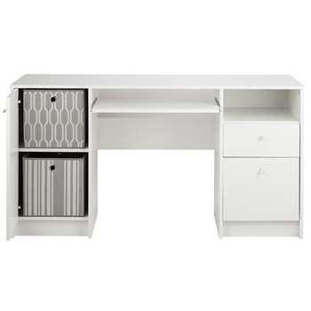 Calgary Double Pedestal Desk with Filer - White (72 x 138cm)