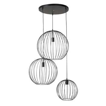 CALIENTE Black Wire Pendant with 3 Globes (H153 x W90 x D66cm)