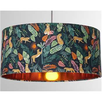Calisto Leopard Jungle Print Lamp Shade, Multi and Copper (H20 x W45 x D45cm)