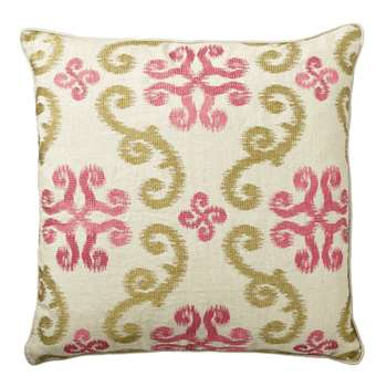 Calla Cushion Cover, Large - Green/Pink (51 x 51cm)