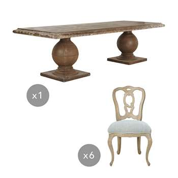 Callanish Table and Hallstatt Chair Dining Set - Multi, Natural