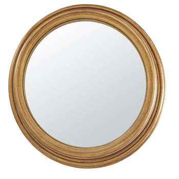 CALLIOPE - Aged Effect Gold Metal and Paulownia Convex Mirror (Diameter 88cm)