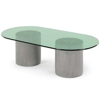 Calvin Coffee Table, Concrete, Brushed Stainless Steel and Green (H30 x W99 x D50cm)