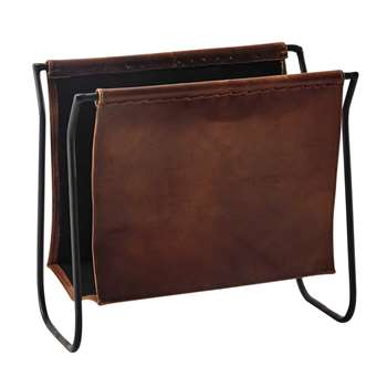 CALVIN leather and metal magazine rack in brown (35 x 39cm)