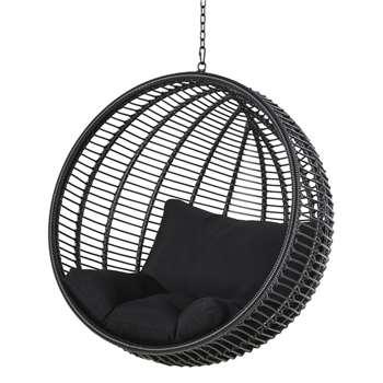 CALYPSO Black Resin Hanging Garden Armchair (H114 x W105 x D76cm)