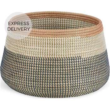 Cam Seagrass Basket, Pink & Navy Blue (H30 x W48 x D48cm)