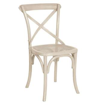Camargue Solid Oak Dining Chair - Linen Grey (88 x 49cm)