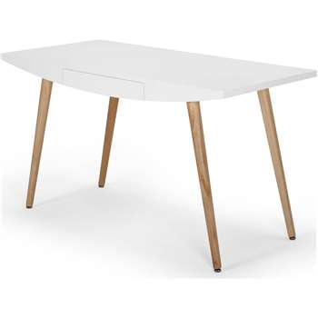 Camber Desk, White & Oak (71.2 x 122cm)