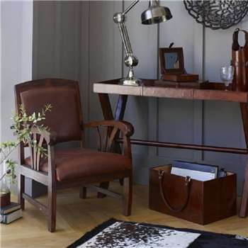 Cambrewood Low Slung Leather Study Chair (82 x 56cm)