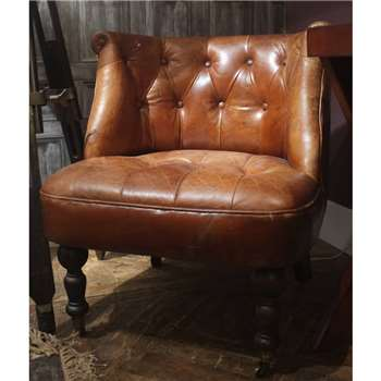 Cambrewood Vintage Brown Leather Tub Chair (67 x 68cm)