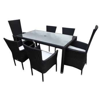 Cambridge 2 Reclining + 4 Stackable Rattan Garden Chairs and Open Leg Rectangular Table Set in Black and Vanilla (Width 160cm)