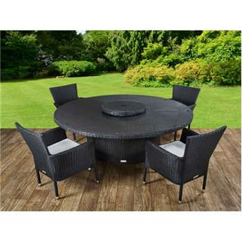 Cambridge 4 Rattan Garden Chairs and Large Round Table Set in Black and Vanilla (73 x 160cm)