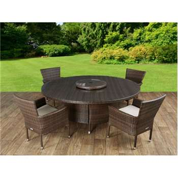 Cambridge 4 Rattan Garden Chairs and Large Round Table Set in Chocolate and Cream (73 x 160cm)