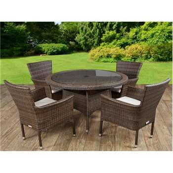 Cambridge 4 Rattan Garden Chairs and Small Round Table Set in Chocolate and Cream (72 x 105cm)