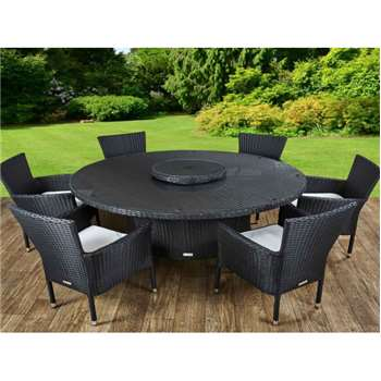 Cambridge 6 Chairs and Large Round Table Set in Black and Vanilla (73 x 160cm)