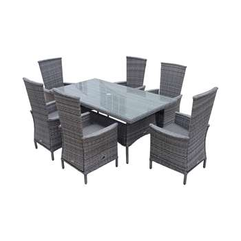 Cambridge 6 Reclining Chairs and Large Rectangular Dining Table Set in Grey (Width 180cm)