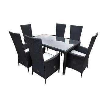 Cambridge 6 Reclining Rattan Garden Chairs and Open Leg Rectangular Table Set in Black and Vanilla (Width 180cm)