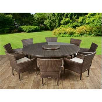 Cambridge 8 Chairs and Large Round Table Set in Chocolate and Cream (73 x 160cm)