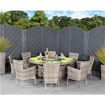 Cambridge 8 Rattan Chairs and Large Round Dining Table Set in Grey (H73 x W160 x D160cm)