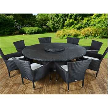 Cambridge 8 Rattan Garden Chairs and Large Round Table Set in Black and Vanilla (73 x 160cm)