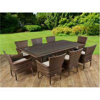 Cambridge 8 Rattan Garden Chairs and Rectangular Table Set in Chocolate and Cream (72 x180cm)