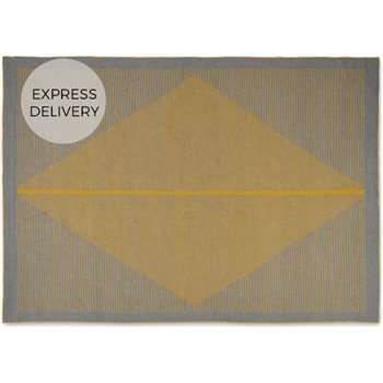 Camden Diamond Rug, Grey and Mustard Yellow (H140 x W200 x D0.7cm)