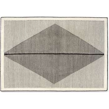 Camden Diamond Rug, Medium, Black and Off White (H140 x W200 x D0.7cm)