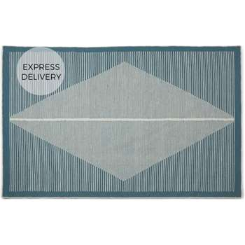 Camden Large Diamond Wool Rug, Teal and White (H160 x W230 x D0.7cm)