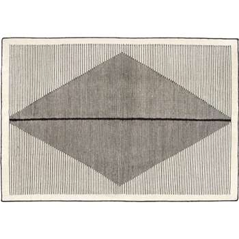 Camden Large Diamond Wool Rug, Black and Off White (160 x 230cm)