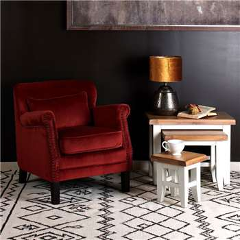 Camden Velvet Accent Chair, Rosewood (H77 x W74 x D83cm)