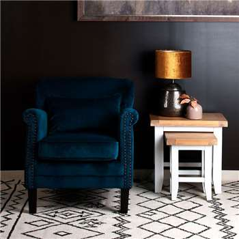 Camden Velvet Accent Chair, Teal (H77 x W74 x D83cm)