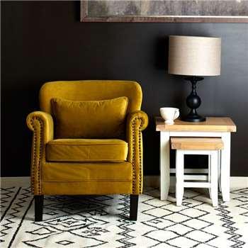 Camden Velvet Accent Chair, Yellow (H77 x W74 x D83cm)