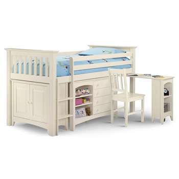 Cameo Sleep Station Kids Cabin Bed in White By Julian Bowen (119 x 107cm)