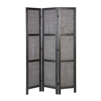 CAMILA Black Woven Pine and Rattan Screens (H170 x W118 x D2cm)