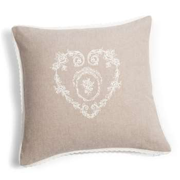 CAMILLE cotton cushion cover in beige (40 x 40cm)