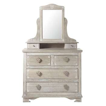 CAMILLE Greyed paulownia wood dressing table (159 x 95cm)
