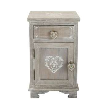 CAMILLE Paulownia wood bedside table with drawer in greyed finish (64 x 38cm)