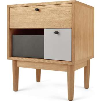 Campton Bedside Table, Oak and Grey (H59 x W50 x D38cm)
