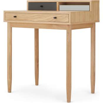 Campton Compact Desk, Oak and Grey (H88 x W75 x D50cm)