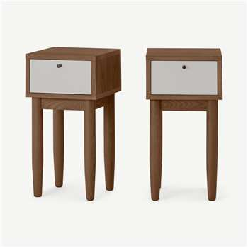 Campton Compact Set of 2 Bedside Tables, Dark Stain Oak & Grey (H59 x W30 x D30cm)