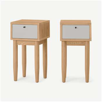 Campton Compact Set of 2 Bedside Tables, Oak & Grey (H59 x W30 x D30cm)