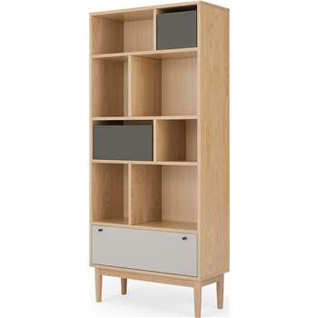Campton Narrow Bookcase, Oak and Grey (H180 x W80 x D35cm)
