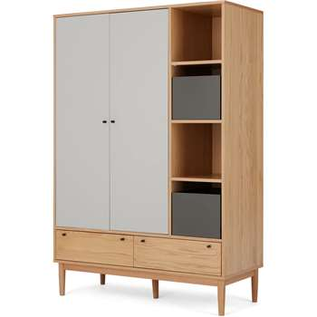 Campton Triple Wardrobe, Oak & Grey (H186 x W126 x D55cm)