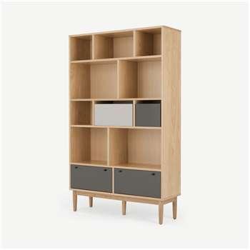 Campton Wide Bookcase, Oak and Grey (H180 x W110 x D35cm)