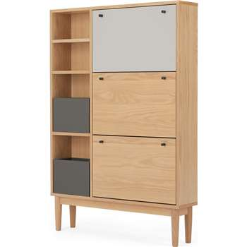 Campton Wide Shoe Storage, Oak and Grey (H139 x W96 x D20cm)