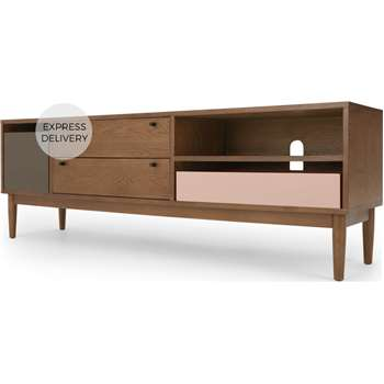 Campton Wide TV Stand, Dark Stain Oak and Grey (H58 x W174 x D42cm)