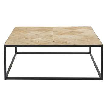 CAMUS Black Metal and Recycled Elm Inlaid Coffee Table (44 x 122cm)