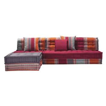 CANCUN 5 Seater Cotton Corner Day Bed, Multicoloured (H82 x W295 x D195cm)