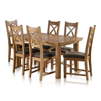 Canterbury Natural Solid Oak Dining Set - 5ft Extending Table And 6, Cross Back Plain Charcoal (H77 x W150 x D90cm)