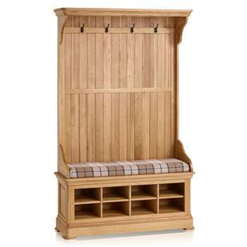 Canterbury Natural Solid Oak Hallway Unit, Check Brown (H197 x W121 x D40cm)